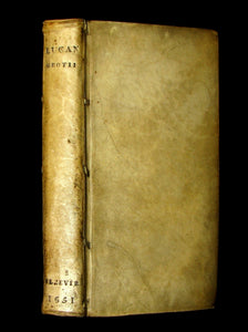 1651 Rare Vellum Book - LUCAN's Pharsalia - Civil war between Julius Caesar and the Senate.