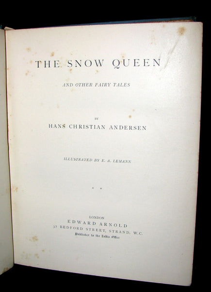 1894 Scarce Victorian Book -  Hans Christian Andersen's Snow Queen & Other Fairy Tales