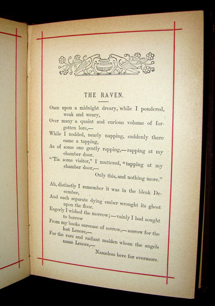 1881 Rare Victorian Book - Poems of Edgar Allan POE (The Raven, Lenore, Ulalume, ...)