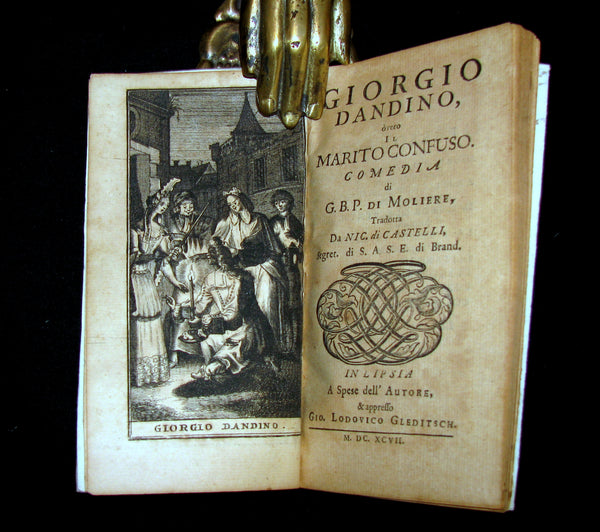 1697 Rare Italian Vellum Book - Il Marito Confuso - Georges Dandin or the Confounded Husband by MOLIERE.