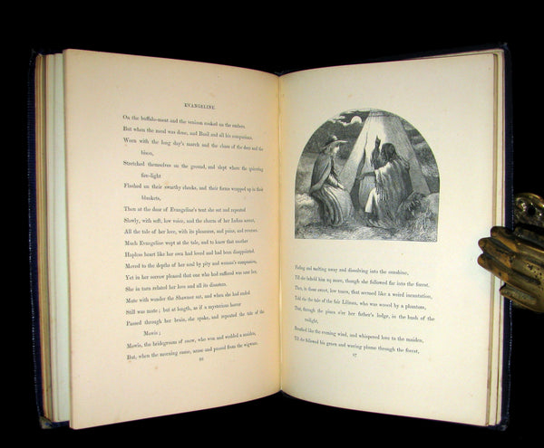 1856 Rare Victorian Book -  EVANGELINE A tale of Acadie by Henry Wadsworth Longfellow. Illustrated.