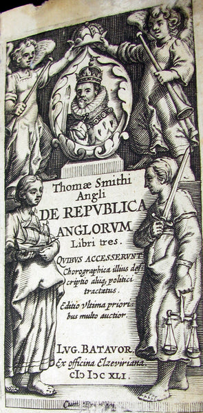 1641 Rare Latin Vellum Book - Sir Thomas Smith's De Republica Anglorum.