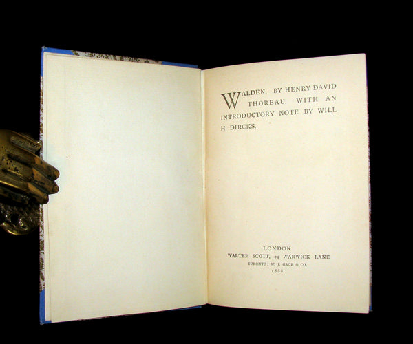 1888 Scarce Victorian Book - WALDEN by Henry David Thoreau.