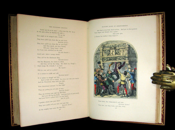 1864 Beautiful Tout Binding - INGOLDSBY LEGENDS, COLOR Illustrated by Cruikshank, Leech and Tenniel.