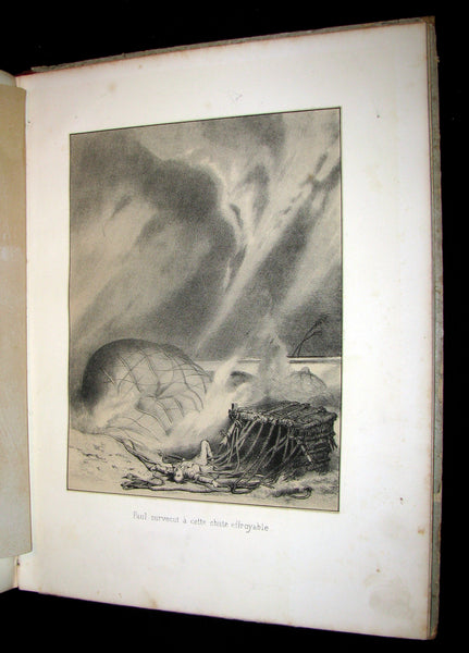 1870 Rare French Ballooning Book - Aventures de Paul enlevé par un ballon -  Adventures of Paul Abducted by a Balloon.