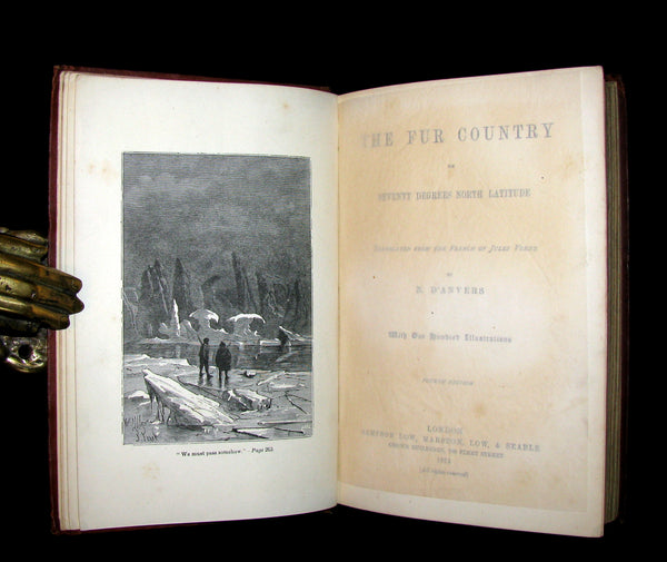 1874 Rare Victorian Book - JULES VERNE - The FUR COUNTRY or Seventy Degrees North Latitude. 4th Edition.