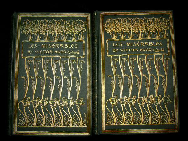 1887 Rare Victorian Book set - LES MISERABLES by Victor Hugo. Illustrated.