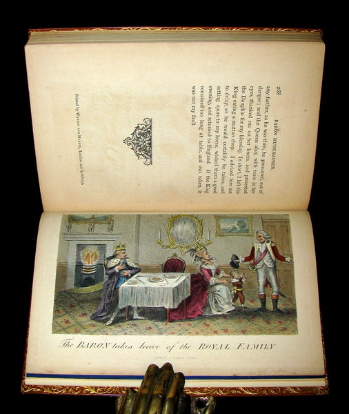 1868 Nice Bartlett & Co Binding - The Travels and Surprising Adventures of Baron MUNCHAUSEN. Illustrated in COLOR by Cruikshank.