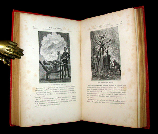 1898 Rare French Book - JULES VERNE - The Steam House - La Maison à Vapeur. Hetzel Illustrated.