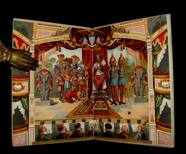 1895 Scarce Victorian Book - ALADDIN and the Wonderful Lamp Theater Pantomime toy Book by McLoughlin.