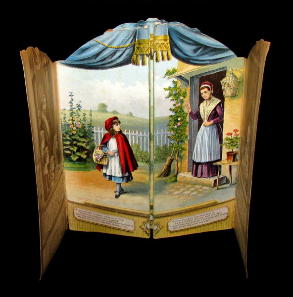 1891 Scarce Victorian Book - RED RIDING HOOD Theater Pantomime toy Book by McLoughlin.