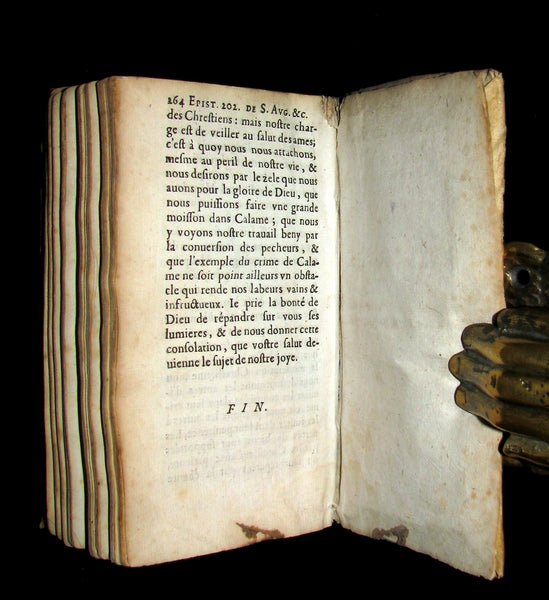1656 Scarce French Vellum Book - Chosen Epistles by Saint Augustine of Hippo.