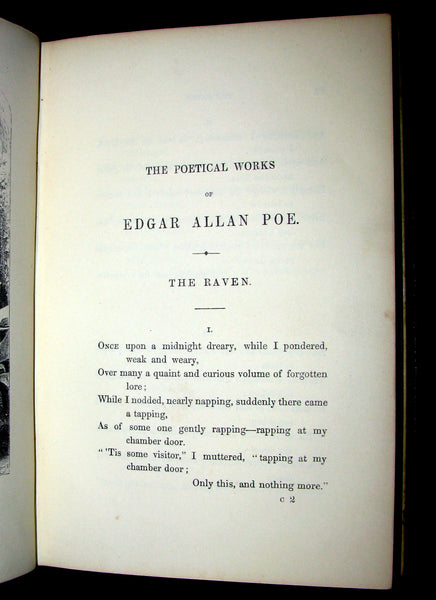 1852 Rare Book - The Poetical Works of EDGAR ALLAN POE. Illustrated.