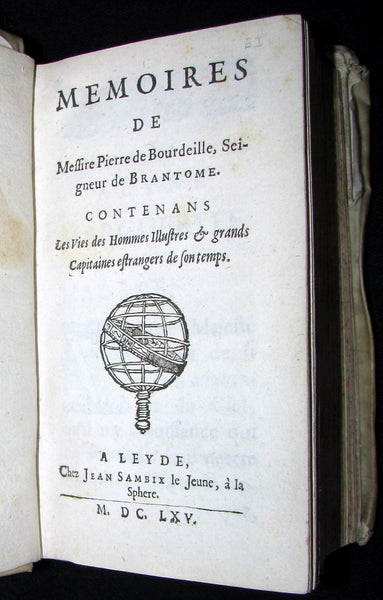 1665 Rare French Vellum Book - Memoirs of Pierre de Bourdeille, seigneur de Brantome. First Edition.