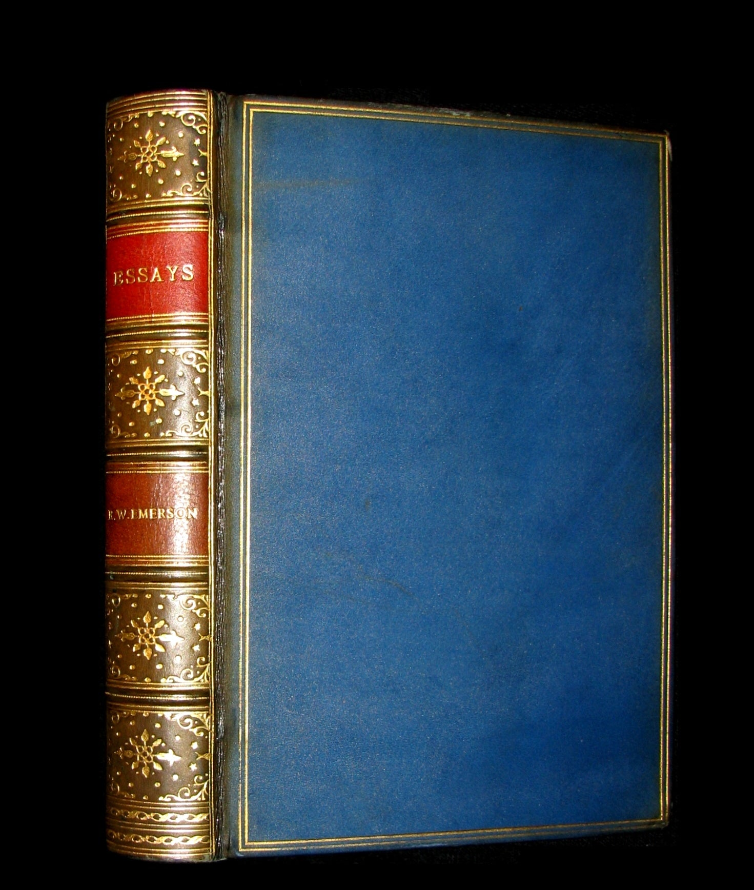 1929 Nice RIVIERE Binding - ESSAYS (First and Second Series) by Ralph Waldo EMERSON.