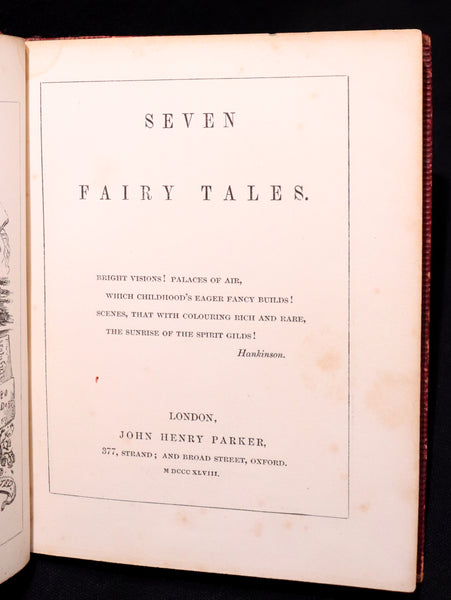 1848 Scarce Victorian Book - SEVEN FAIRY TALES by John Henry Parker. Illustrated.