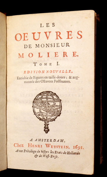 1691 Scarce French Book set - The Complete Illustrated Work of MOLIERE - Les Oeuvres de Monsieur MOLIERE.