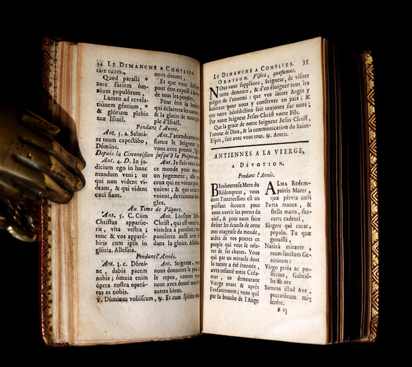 1781 Scarce French Latin Book in a beautiful BINDERY WORK - L'Office du Soir - Evening Prayer.