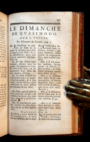 1777 Scarce French Latin Book in a beautiful BINDERY WORK - Office de la Quinzaine de Paque - Easter Prayer.