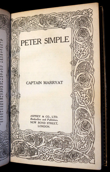1920 Rare Book beautifully bound by ASPREY - PETER SIMPLE by Captain Frederick Marryat.