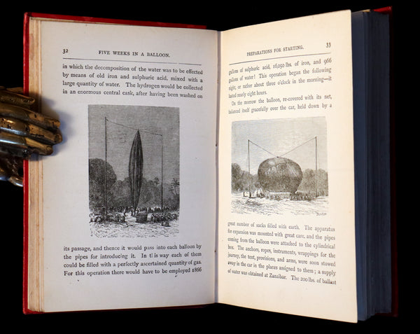 1899 Rare Victorian Book - JULES VERNE - Five Weeks in a Balloon Illustrated by Riou.