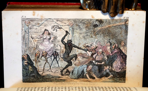 1830 1stED Book - bound by The Hampstead Bindery - Letters on Demonology & Witchcraft color illustrated by Cruikshank.