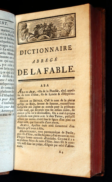 1784 Rare French Book -  Dictionary of FABLE and Mythology - Dictionnaire de la Fable by Chompre.