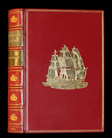 1885 Fine Bayntun-Riviere Binding - TREASURE ISLAND by Stevenson. First UK Illustrated Edition.