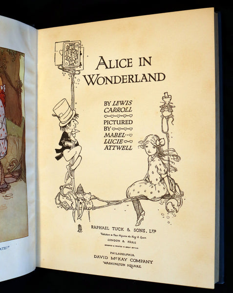 1920 Scarce Book - ALICE in Wonderland color illustrated by Mabel Lucie Attwell.