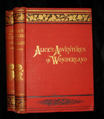 1889 -1891 Rare Victorian Bookset - Alice's Adventures in Wonderland & Through the Looking-Glass, and What Alice Found There by Lewis Carroll