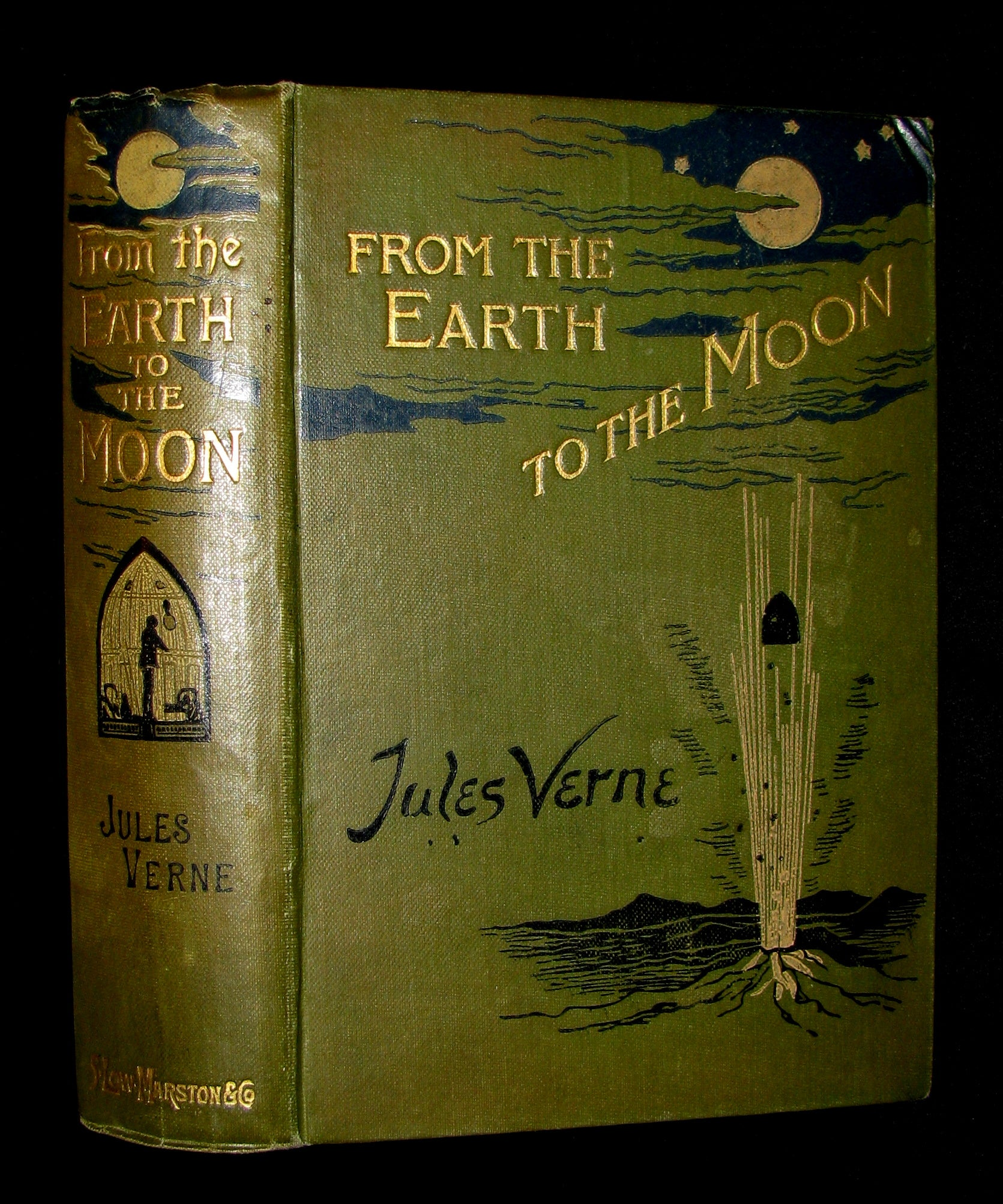 1907 Rare Book - JULES VERNE - From the Earth to the Moon, Direct in 97 hours 20 minutes