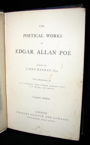 1860 Rare Victorian Book - The Poetical Works of EDGAR ALLAN POE. Illustrated.