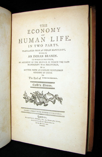 1800 Rare Book -  The Economy of Human Life from an Indian Manuscript written by a Bramin