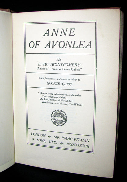 1913 Rare Early Edition - ANNE of AVONLEA By L. M. Montgomery