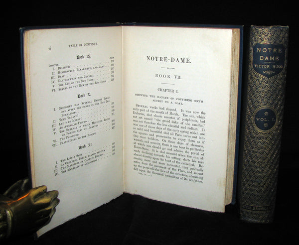 1888 Rare Victorian Book set - The Hunchback of Notre-Dame by Victor Hugo. Gothic.