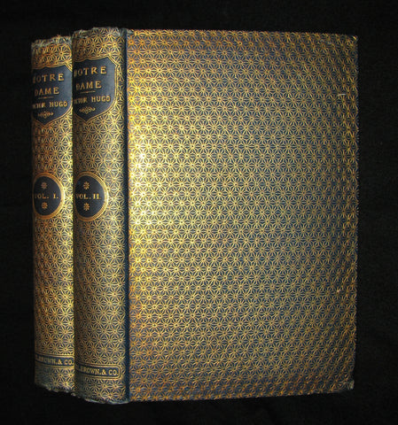 1892 Rare Victorian Book set - The Hunchback of Notre-Dame by Victor Hugo. Gothic.