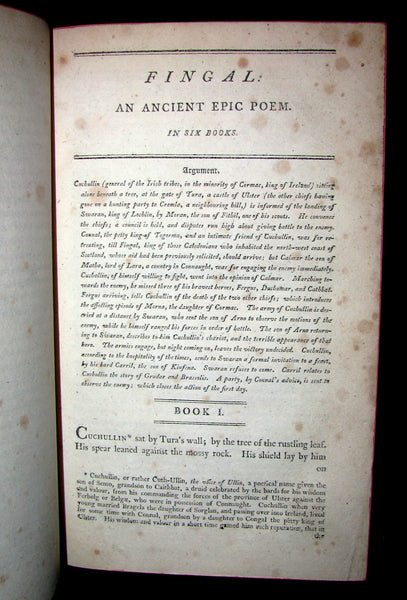 1812 Rare Book - The Poems of Ossian - The Son of Fingal by James MacPherson.