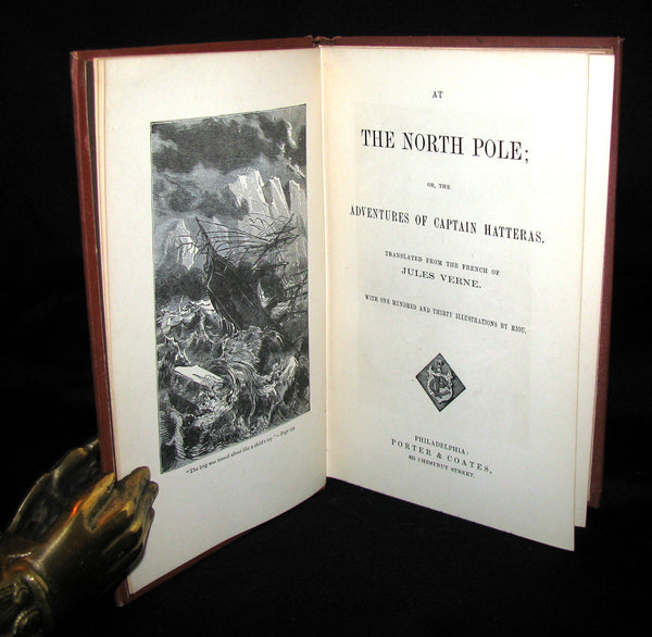 1874 Rare Book - Jules Verne - At The North Pole, or The Adventures of Captain Hatteras.