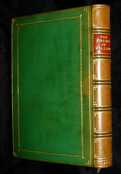 1881 Rare Book - Middle Ages Poems of Francois Villon bound by Sangorski and Sutcliffe