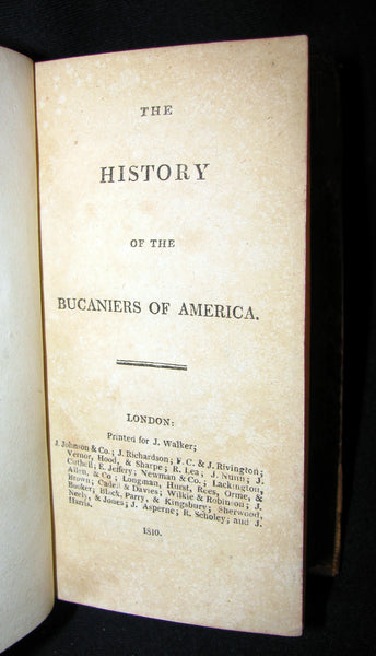 1810 Rare Book - HISTORY OF THE BUCANIERS (BUCCANIERS) OF AMERICA - PIRATES