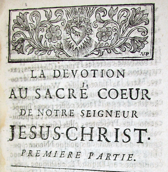 1725 Scarce French Book - The devotion to the Sacred Heart of Jesus by Father Croiset