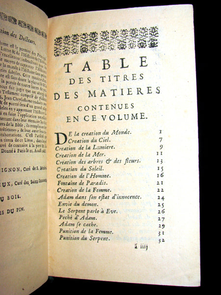 1688 Rare French Book - Bible - Abregé de Saint Jean Chrysostome sur l'Ancien Testament.