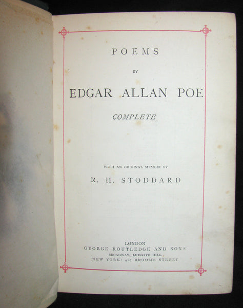 1875 Rare Book - Poems by Edgar Allan POE (The Raven, Lenore, Ulalume, ...)