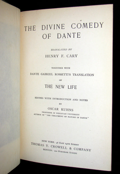 1897 Rare Book -  THE DIVINE COMEDY OF DANTE ALIGHIERI: Together with Dante Gabriel Rossetti's Translation of The New Life