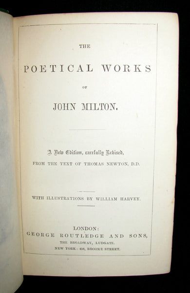 1885 Rare Book ~ The Poetical Works of John Milton illustrated by William Harvey