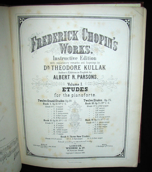 1880's Very Rare Victorian edition of Frederick CHOPIN 's ETUDES for Pianoforte - Music scores