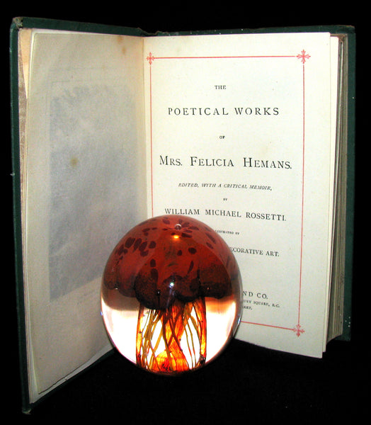 1890's Rare Victorian Book - The Poetical Works Of Mrs Hemans, Edited With A Critical Memoir by William Michael Rossetti