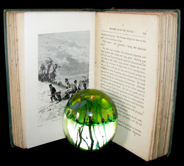 1910 Rare Illustrated Book - Dropped from the Clouds by Jules Verne