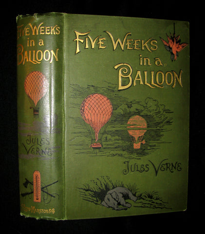 1899 Rare Victorian Book - JULES VERNE Five Weeks in a Balloon. A Voyage of Exploration and Discovery in Central Africa. With Sixty-Four Illustrations by Riou.
