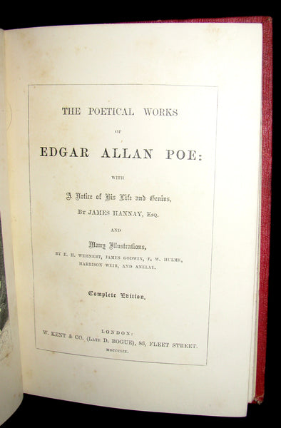 1859 Rare Book - The Poetical Works of EDGAR ALLAN POE with A Notice of his Life